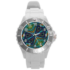 Tribal Style Colorful Geometric Pattern Plastic Sport Watch (large) by dflcprints