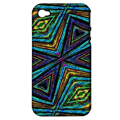 Tribal Style Colorful Geometric Pattern Apple Iphone 4/4s Hardshell Case (pc+silicone) by dflcprints