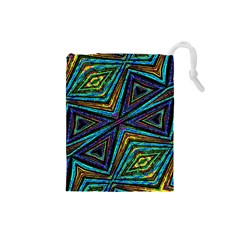 Tribal Style Colorful Geometric Pattern Drawstring Pouch (small) by dflcprints