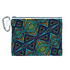 Tribal Style Colorful Geometric Pattern Canvas Cosmetic Bag (Large)