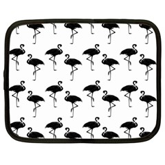 Flamingo Pattern Black On White Netbook Sleeve (xl) by CrypticFragmentsColors