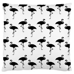 Flamingo Pattern Black On White Large Cushion Case (two Sided)  by CrypticFragmentsColors