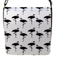 Flamingo Pattern Black On White Flap Closure Messenger Bag (small) by CrypticFragmentsColors