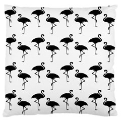 Flamingo Pattern Black On White Large Flano Cushion Case (one Side) by CrypticFragmentsColors