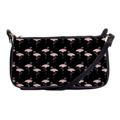 Pink Flamingo Pattern On Black  Evening Bag by CrypticFragmentsColors