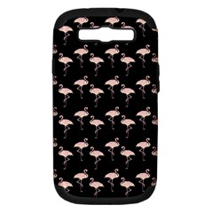 Pink Flamingo Pattern On Black  Samsung Galaxy S Iii Hardshell Case (pc+silicone) by CrypticFragmentsColors