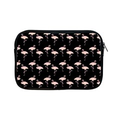 Pink Flamingo Pattern On Black  Apple Ipad Mini Zippered Sleeve by CrypticFragmentsColors