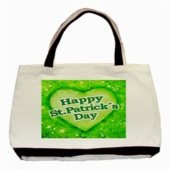 Unique Happy St  Patrick s Day Design Twin Sided Black Tote Bag by dflcprints