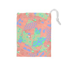 Tropical Summer Fruit Salad Drawstring Pouch (medium) by CrypticFragmentsColors