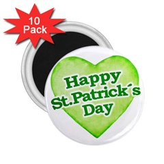 Happy St Patricks Day Design 2 25  Button Magnet (10 Pack) by dflcprints