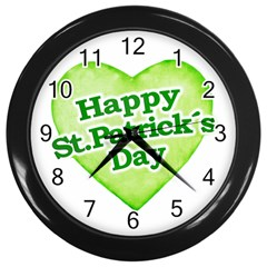 Happy St Patricks Day Design Wall Clock (black) by dflcprints