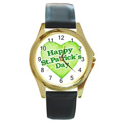 Happy St Patricks Day Design Round Leather Watch (gold Rim)  by dflcprints