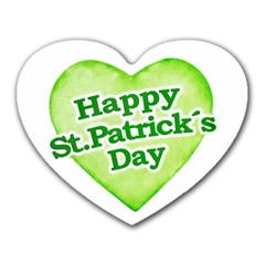 Happy St Patricks Day Design Mouse Pad (heart) by dflcprints