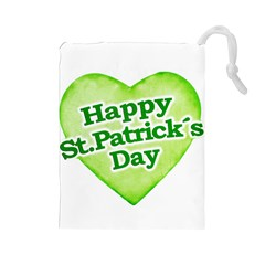 Happy St Patricks Day Design Drawstring Pouch (large) by dflcprints