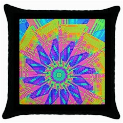 Neon Flower Purple Hot Pink Orange Black Throw Pillow Case by CrypticFragmentsColors