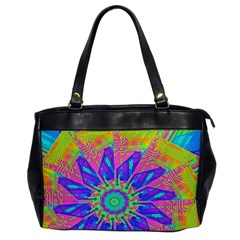 Neon Flower Purple Hot Pink Orange Oversize Office Handbag (one Side) by CrypticFragmentsColors