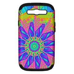 Neon Flower Purple Hot Pink Orange Samsung Galaxy S Iii Hardshell Case (pc+silicone) by CrypticFragmentsColors