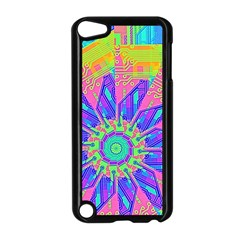 Neon Flower Purple Hot Pink Orange Apple Ipod Touch 5 Case (black) by CrypticFragmentsColors