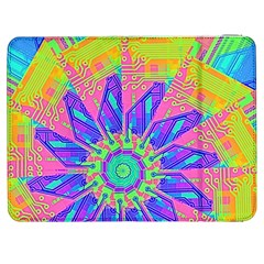 Neon Flower Purple Hot Pink Orange Samsung Galaxy Tab 7  P1000 Flip Case by CrypticFragmentsColors