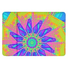 Neon Flower Purple Hot Pink Orange Samsung Galaxy Tab 8 9  P7300 Flip Case by CrypticFragmentsColors