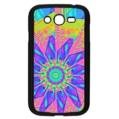 Neon Flower Purple Hot Pink Orange Samsung Galaxy Grand Duos I9082 Case (black) by CrypticFragmentsColors
