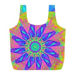 Neon Flower Purple Hot Pink Orange Reusable Bag (l) by CrypticFragmentsColors