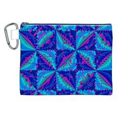Hot Neon Pink Blue Triangles Canvas Cosmetic Bag (XXL)