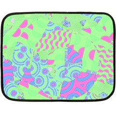 Tropical Neon Green Purple Blue Double Sided Fleece Blanket (mini) by CrypticFragmentsColors