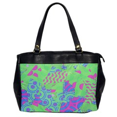 Tropical Neon Green Purple Blue Oversize Office Handbag by CrypticFragmentsColors