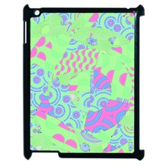 Tropical Neon Green Purple Blue Apple Ipad 2 Case (black) by CrypticFragmentsColors