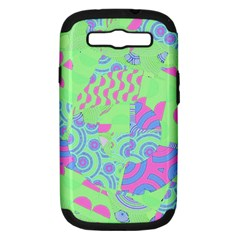 Tropical Neon Green Purple Blue Samsung Galaxy S Iii Hardshell Case (pc+silicone) by CrypticFragmentsColors