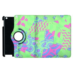 Tropical Neon Green Purple Blue Apple Ipad 3/4 Flip 360 Case by CrypticFragmentsColors