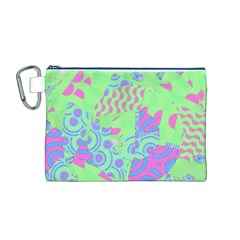 Tropical Neon Green Purple Blue Canvas Cosmetic Bag (medium) by CrypticFragmentsColors