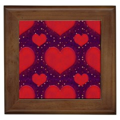 Galaxy Hearts Grunge Style Pattern Framed Ceramic Tile by dflcprints