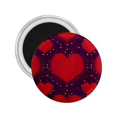 Galaxy Hearts Grunge Style Pattern 2 25  Button Magnet by dflcprints