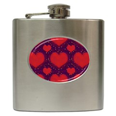 Galaxy Hearts Grunge Style Pattern Hip Flask by dflcprints