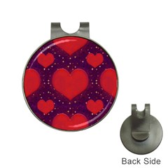 Galaxy Hearts Grunge Style Pattern Hat Clip With Golf Ball Marker by dflcprints