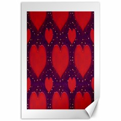 Galaxy Hearts Grunge Style Pattern Canvas 24  X 36  (unframed) by dflcprints