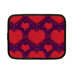 Galaxy Hearts Grunge Style Pattern Netbook Sleeve (small) by dflcprints