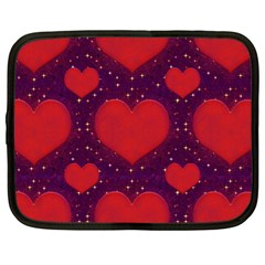 Galaxy Hearts Grunge Style Pattern Netbook Sleeve (large) by dflcprints