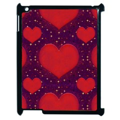 Galaxy Hearts Grunge Style Pattern Apple Ipad 2 Case (black) by dflcprints