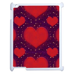 Galaxy Hearts Grunge Style Pattern Apple Ipad 2 Case (white) by dflcprints