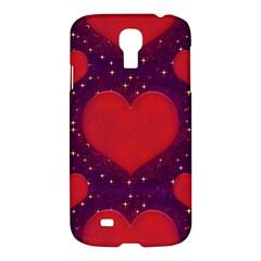 Galaxy Hearts Grunge Style Pattern Samsung Galaxy S4 I9500/i9505 Hardshell Case by dflcprints