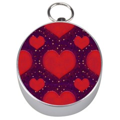 Galaxy Hearts Grunge Style Pattern Silver Compass by dflcprints