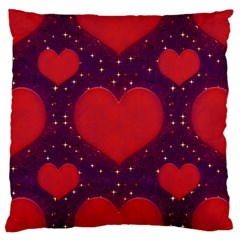 Galaxy Hearts Grunge Style Pattern Large Flano Cushion Case (one Side) by dflcprints