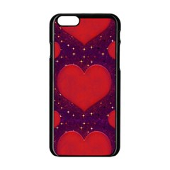 Galaxy Hearts Grunge Style Pattern Apple Iphone 6 Black Enamel Case by dflcprints