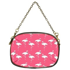 Flamingo White On Pink Pattern Chain Purse (two Sided)  by CrypticFragmentsColors