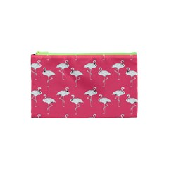 Flamingo White On Pink Pattern Cosmetic Bag (xs) by CrypticFragmentsColors