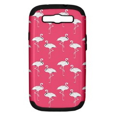 Flamingo White On Pink Pattern Samsung Galaxy S Iii Hardshell Case (pc+silicone) by CrypticFragmentsColors