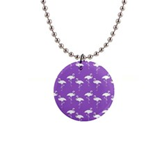 Flamingo White On Lavender Pattern Button Necklace by CrypticFragmentsColors